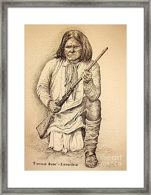 Famous Pose - Geronimo Framed Print by Marilyn Smith