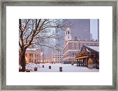Faneuil Hall In Snow Framed Print by Susan Cole Kelly