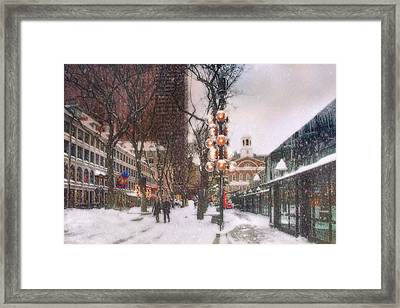 Faneuil Hall Winter Scene Framed Print by Joann Vitali