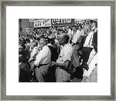 Fans At Yankee Stadium Stand For The National Anthem At The Star Framed Print by Underwood Archives