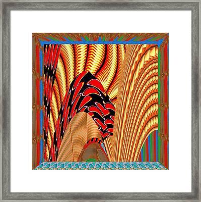 Fantasy Digital Painted Art Jewel And Golden Body Snake Guarding Temple Gates Framed Print by Navin Joshi