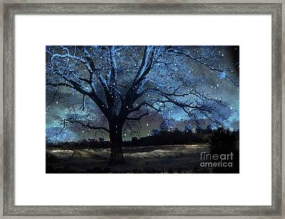 Fantasy Blue Nature Fairy Lights Photography - Blue Starry Surreal Gothic Fantasy Trees And Stars Framed Print by Kathy Fornal