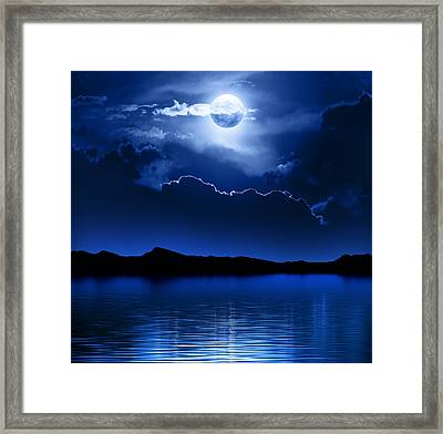 Fantasy Moon And Clouds Over Water Framed Print by Johan Swanepoel