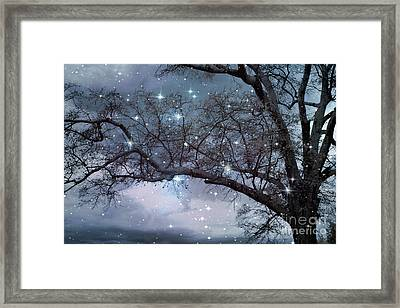 Fantasy Nature Blue Starry Surreal Gothic Fantasy Blue Trees Nature Starry Night Framed Print by Kathy Fornal