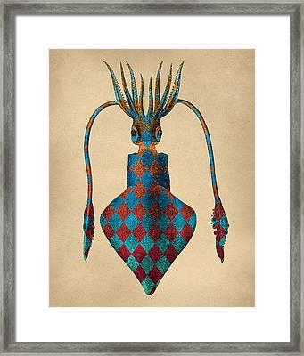 Fantasy Squid Vintage Illustration Framed Print by Flo Karp