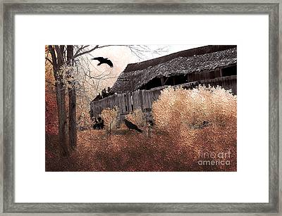 Fantasy Surreal Gothic Old Barn Scene With Birds And Ravens Framed Print by Kathy Fornal