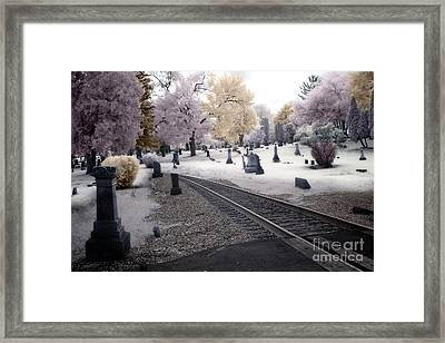 Fantasy Surreal Infrared Graveyard With Railroad Tracks - No Rest For The Dead Framed Print by Kathy Fornal