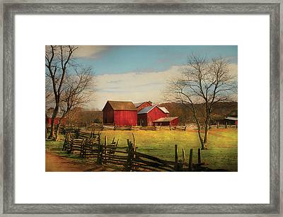 Farm - Barn - Just Up The Path Framed Print by Mike Savad