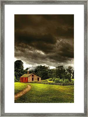 Farm - Barn - Storms A Comin Framed Print by Mike Savad