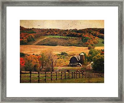 Farm Country Autumn - Sheldon Ny Framed Print by Lianne Schneider