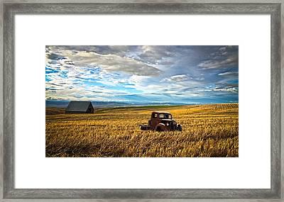 Farm Field Pickup Framed Print by Steve McKinzie