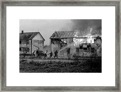 Farm Fire Framed Print by Mike Flynn