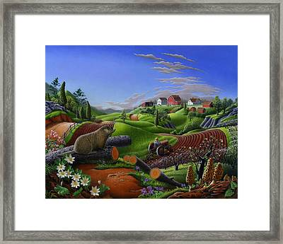 Farm Folk Art - Groundhog Spring Appalachia Landscape - Rural Country Americana - Woodchuck Framed Print by Walt Curlee