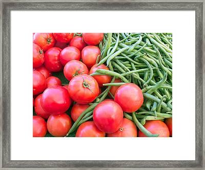 Farm Fresh Tomatoes And Beans Framed Print by Ram Vasudev