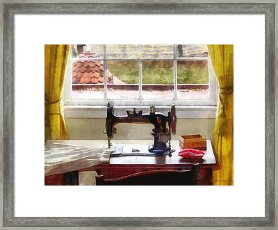 Farm House With Sewing Machine Framed Print by Susan Savad