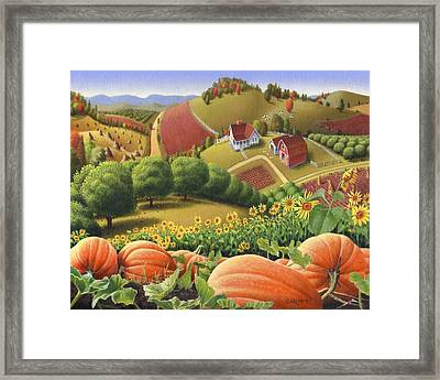 Farm Landscape - Autumn Rural Country Pumpkins Folk Art - Appalachian Americana - Fall Pumpkin Patch Framed Print by Walt Curlee