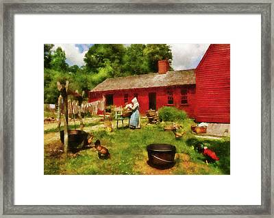 Farm - Laundry - Old School Laundry Framed Print by Mike Savad