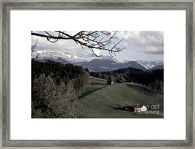 Farm Scene In Switzerland 2 Framed Print by Susanne Van Hulst