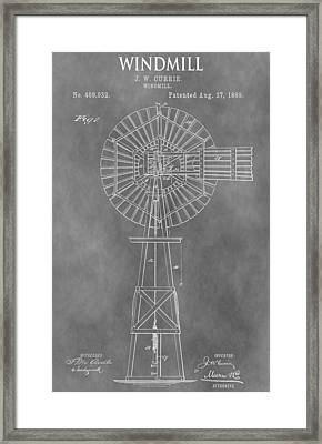Farm Windmill Patent Framed Print by Dan Sproul