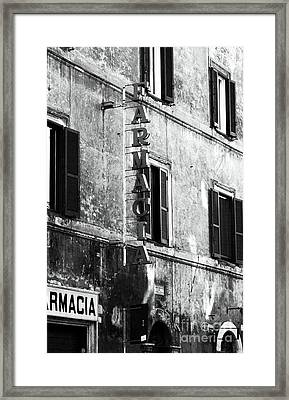 Farmacia Framed Print by John Rizzuto