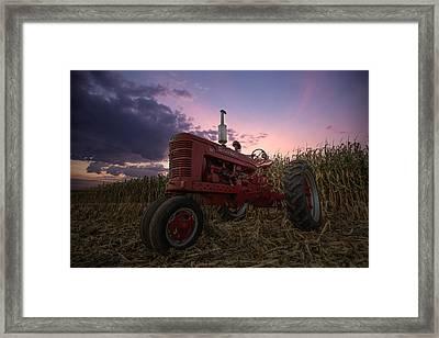 Farmall Sunset Framed Print by Aaron J Groen