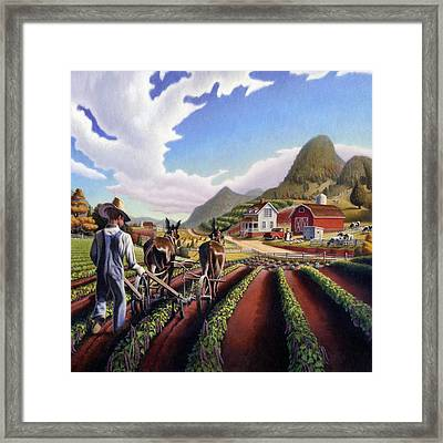 Farmer Cultivating Peas Country Farming Life Landscape - Farm Scene - Square Format Framed Print by Walt Curlee