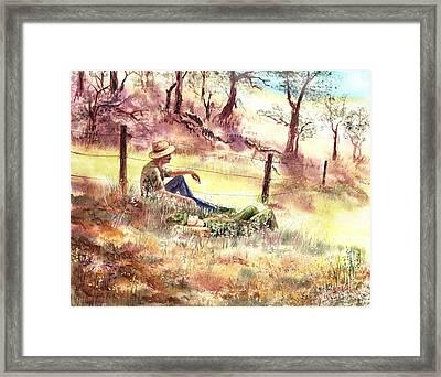 Farmers And Hunters Heaven Framed Print by Irina Sztukowski