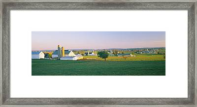 Farmhouse In A Field, Amish Farms Framed Print by Panoramic Images