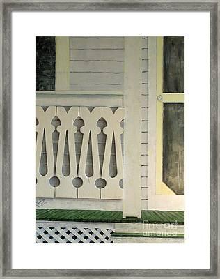 Farmhouse Porch Right Side Framed Print by Judith Espinoza
