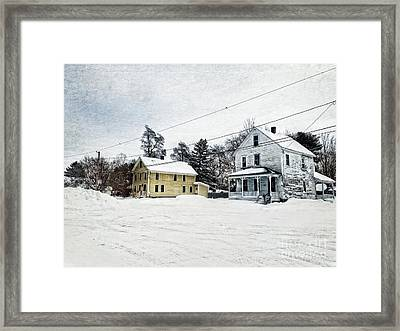 Farmhouses In The Snow Framed Print by HD Connelly