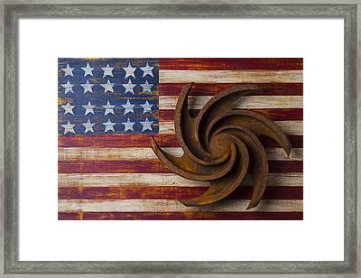 Farming Tool On American Flag Framed Print by Garry Gay