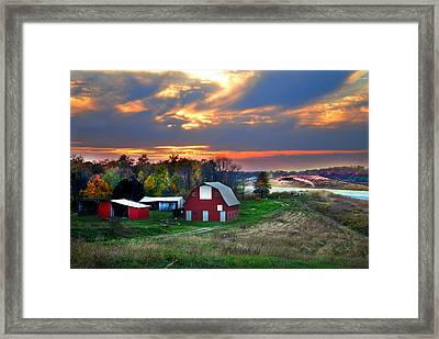 Farmstead At Sunset Framed Print by Julie Dant
