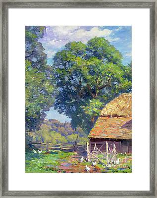 Farmyard With Poultry Framed Print by Gabriel Edouard Thurner