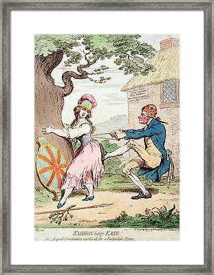 Fashion Before Ease, Or A Good Constitution Sacrificed For A Fantastic Form, Pub. By Hannah Framed Print by George Moutard Woodward