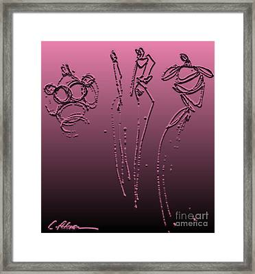 Fashion Graffiti.  Metalic Pink With Black Framed Print by Cathy Peterson