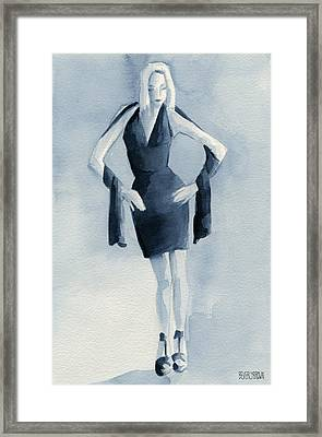 Fashion Illustration Art Print Woman In Blue Dress Front Framed Print by Beverly Brown