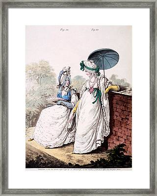 Fashion Plate Of Ladies Morning Dress Framed Print by English School