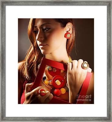 Fashionable Girl Portrait Framed Print by Anna Omelchenko