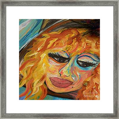 Fashionista - Mysterious Red Head Framed Print by Eloise Schneider