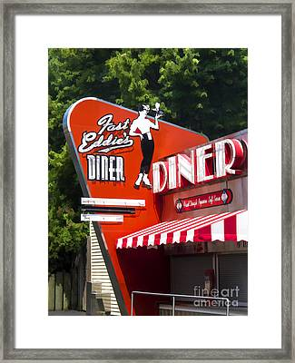Fast Eddies Diner Art Deco Fifties Framed Print by Edward Fielding