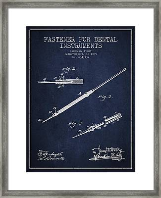 Fastener For Dental Instruments Patent From 1899 - Navy Blue Framed Print by Aged Pixel