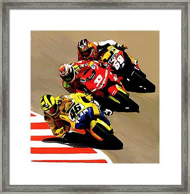 Faster  Valentino Rossi Framed Print by Iconic Images Art Gallery David Pucciarelli