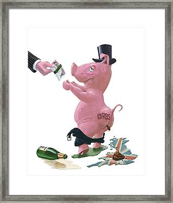 Fat British Bank Pig Getting Government Handout Framed Print by Martin Davey