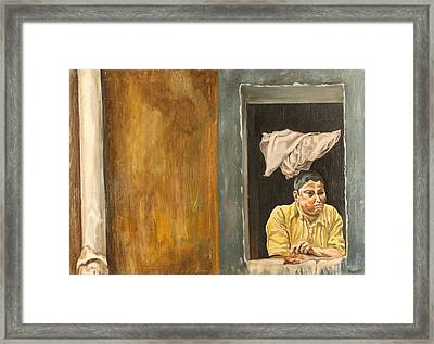 Fat Kid With Chicken Framed Print by Michael Marcotte