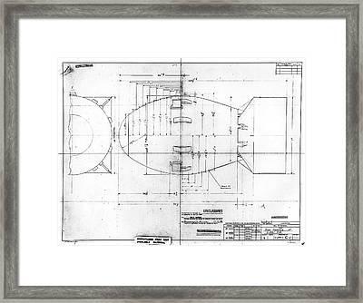 Fat Man Atomic Bomb Blueprint Framed Print by Los Alamos National Laboratory