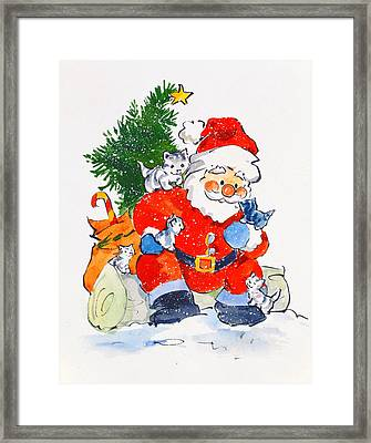 Father Christmas And Kittens, 1996  Framed Print by Diane Matthes