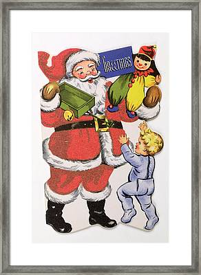Father Christmas, Victorian Christmas Card Framed Print by English School