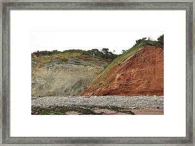Fault At Blue Anchor Framed Print by Sinclair Stammers
