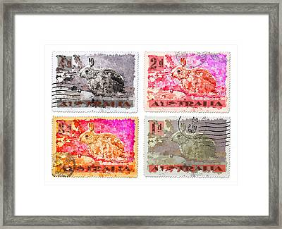 Faux Poste Bunnies Framed Print by Carol Leigh