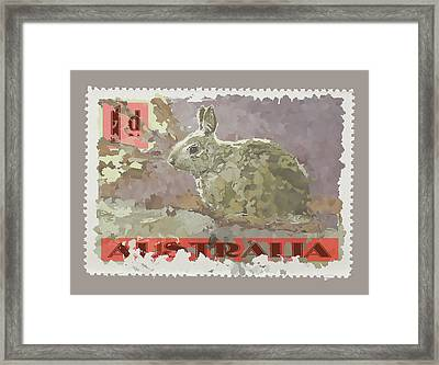 Faux Poste Bunny 1d Framed Print by Carol Leigh